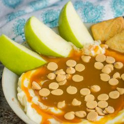 Easy Caramel Cheesecake Dip is a no-bake dip recipe that's the perfect fall appetizer or dessert. It's a favorite with kids and adults.